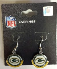 Green Bay Packers Green/Gold Half Moon Dangle Earrings
