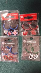 "Green Bay Packers 1"" Hoop with Beads NFL Earrings"