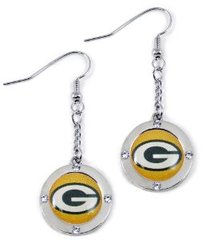 Green Bay Packers Rhinetone Dangle Earrings NFL