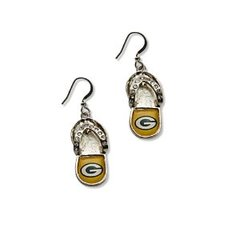 Green Bay Packers Flip Flops Dangle Earrings NFL