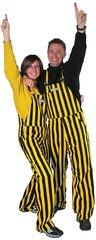 Adult Green & Gold Striped Game Bibs Overalls