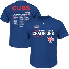Chicago Cubs Royal 2016 World Series Champions Sweet Lineup Roster T-Shirt