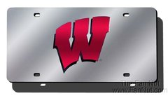 Wisconsin Badgers Silver Mirrored Laser Cut License Plate