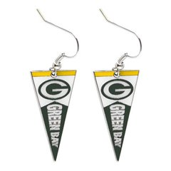 Green Bay Packers Pennant Dangle Earrings NFL