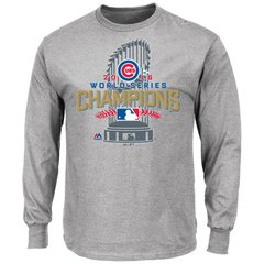 Chicago Cubs Gray 2016 World Series Champions Locker Room Long Sleeve T-Shirt