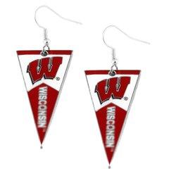 Wisconsin Badgers Pennant Earrings NCAA