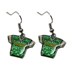 Green Bay Packers Glitter Jersey Dangle Earrings NFL