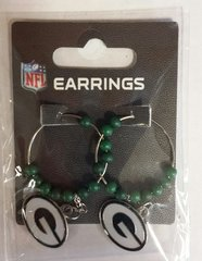 Green Bay Packers Hoop Beaded Dangle Earrings
