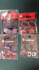 "Chicago Bears 1"" Hoop Earrings With Beads NFL"
