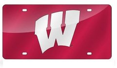 Wisconsin Badgers Red Mirrored Laser Cut License Plate