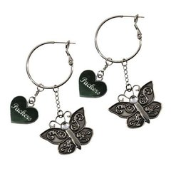 Green Bay Packers Heart & Butterfly Dangle Earrings