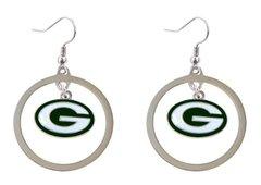 Green Bay Packers Hoop Logo Dangle Earrings NFL