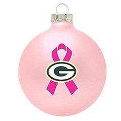 GREEN BAY PACKERS BREAST CANCER AWARENESS GLASS ORNAMENT NFL SERIES PINK