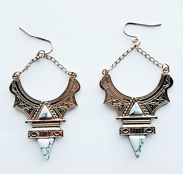 Howlite Gold Earrings Una Bello