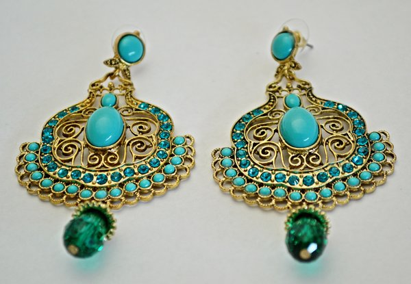 Beaded Statement Earring Turquoise Una Bello