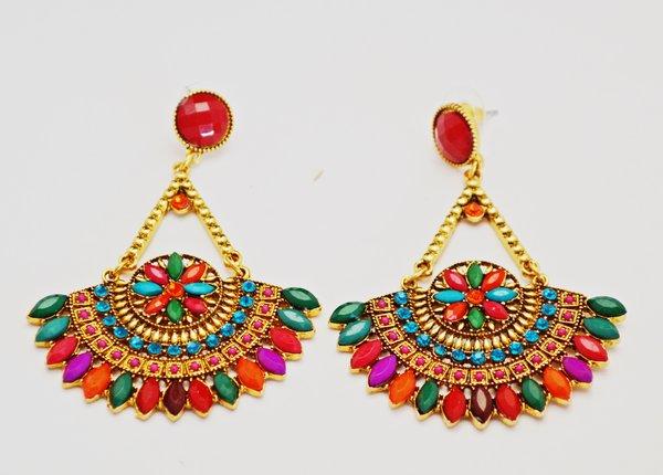 Ethnic Fan Earrings Multi Color Una Bello