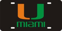 License Plate, Miami Hurricanes, Black