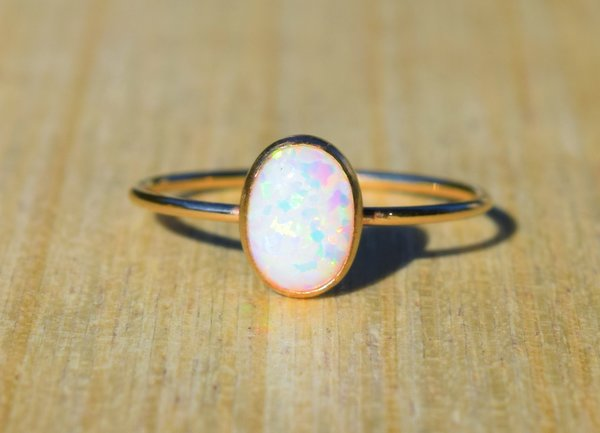 Gold Opal Ring You Choice of Color Gold Filled Naturally by Grace