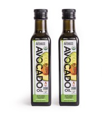 2 Pack Avohass Organic Extra Virgin Avocado Oil, USDA Certified, Non-GMO Project Verified, Kosher Certified, (2) 8.5 fl. oz. Bottles. Bottled in California. Product Expiration Date April 2020.