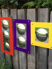 SENSORY MIRRORS ,SET OF 3 COLOUR BACKED MIRRORS