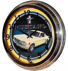 "Mustang 17"" Yellow Neon Wall Clock"