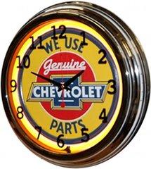 "Genuine Chevrolet Parts 17"" Yellow Neon Wall Clock"