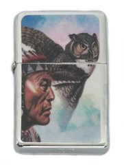 Native American Chief with Owl Lighter