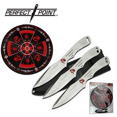 "Perfect Point Silver 3pc 8"" Throwing Knife Set in Black or Silver with Red Dragon Target Board"