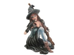 Witch with Broom and Crow Figurine