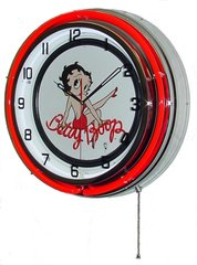 """Betty Boop 18"""" Red Double Neon Wall Clock"""