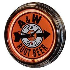 "A&W Root Beer 17"" Orange Neon Wall Clock"