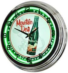 """Mountain Dew """"It'll Tickle"""" 17"""" Green Neon Clock"""