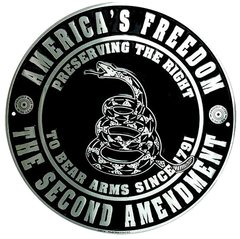"""The Second Amendment """"America's Freedom"""" Metal Sign"""