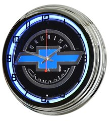 "Genuine Chevrolet 17"" Blue Neon Wall Clock"