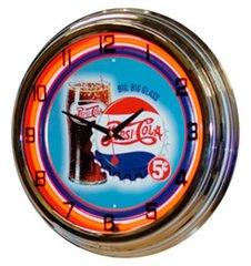 "Pepsi ""Big Glass"" 5¢ Design 17"" Red Neon Wall Clock"
