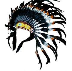 Handmade Short White Brown Black Feathered Headdress