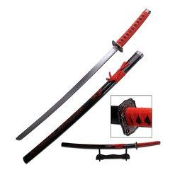 "Black/Red 40"" Samurai Katana w/ Ink Calligraphy Graphics"