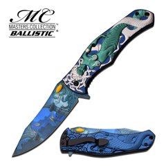 """The Gorgon Medusa"" Green/Silver Spring Assist Knife"