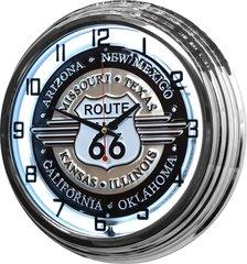 "Route 66 17"" White Neon Wall Clock"