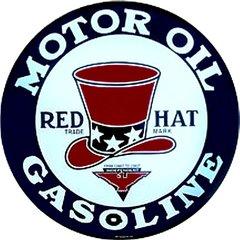 Red Hat Gasoline Metal Sign