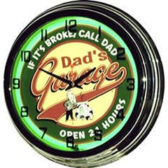 "Dad's Garage 17"" Green Neon Wall Clock"