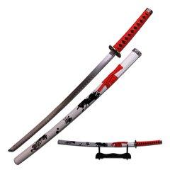 """White/Red 40"""" Samurai Katana w/ Ink Calligraphy Graphics"""