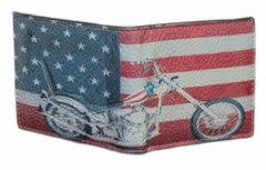 Men's Genuine Leather American Flag with Motorcycle Bi-fold Wallet