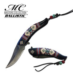 """Regalia"" Spring Assist Knife with Tribal Pattern Handle Available in Red, Ivory, Black or Blue"