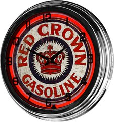 """Red Crown Gasoline 17"""" Red Neon Wall Clock"""