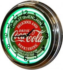 """Drink Coca-Cola 17"""" Green Neon Wall Clock"""