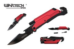 "Wartech ""Decadence"" Spring Assist Folder Knife w/ LED Light & Fire Starter Available in Red, Green or Blue"