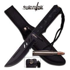 "Survivor 11 7/8"" Black Fixed Blade Knife w/ Folding Bullet Knife"