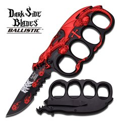 "Dark Side Blades Ballistic ""Eldritch"" Red Assisted Opening Knuckle Knife"