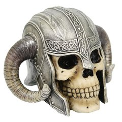 Horned Helmet Warrior Skull Statue